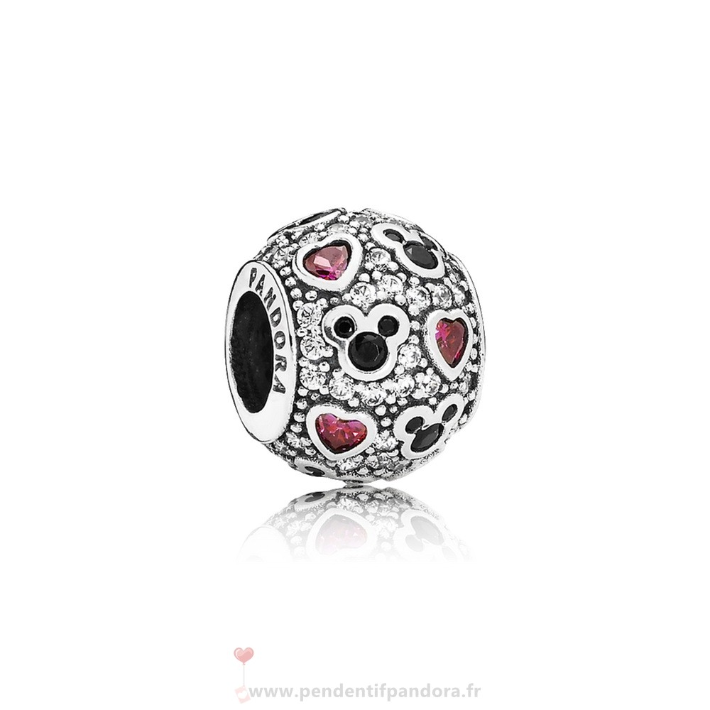 Complet Pandora Pandora Paillettes Paves Charms Disney Sparkling Mickey Coeurs Charme Clear Cz