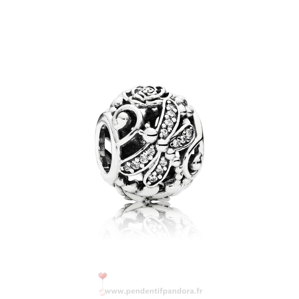 Complet Pandora Pandora Paillettes Paves Charms Dragonfly Meadow Charm Clear Cz