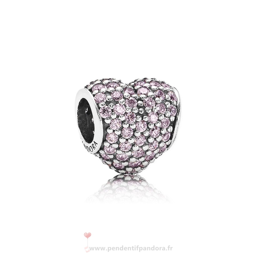 Complet Pandora Pandora Sparkling Paves Charms Pave Heart Charm Rose Cz